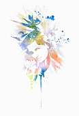 Colourful design with portrait of woman (print)