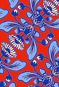 Blue Cape daisy pattern on orange background (print)