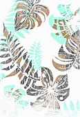 Tropical flowers and leaves on white background (print)