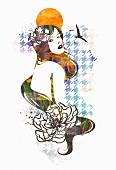 Hippiemädchen und Hahnentrittmuster (Illustration)