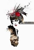 Flapper girl on white background (print)