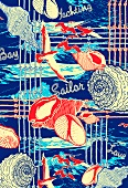 Red, white and blue nautical design (print)