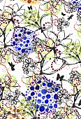 Butterflies and tropical flowers on white background with pointillist patterns (print)