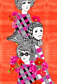 Retro design with three women (print)