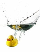 Rubber ducky falling into water