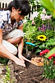 Woman planting bulbs in flowerbed