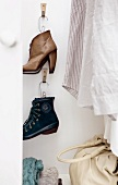 Shoes on wall hooks