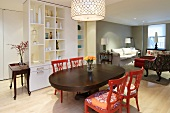 Dining Room with Colorful Dining Chairs; Open to Living Room