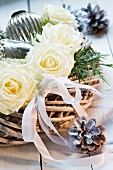 Christmas flower arrangement of white roses