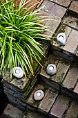 Simple brick staircase decorated with rustic lanterns and ornamental grass