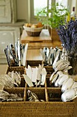 Cutlery stand in Provence country kitchen