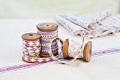 Spools of decorative ribbon