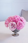 Pink Peonies in a Silver Vase on a Table