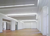 Empty gallery space with a variety of ceiling illumination in the suspended ceilings (Goethe Institut, London)