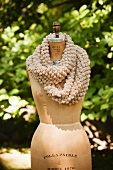 Beige Scarf Made From Alpaca Wool on Form