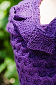 Close Up of a Purple Scarf Made from Alpaca Wool