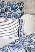 Nostalgic, white and blue bed linen with various patterns