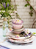 Stacked crockery decorated with flowers