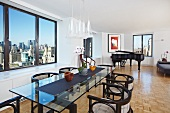 Dining Room Open to Living Room with City Views