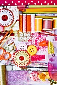 Assorted sewing and craft supplies
