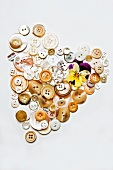 A heart made of assorted buttons