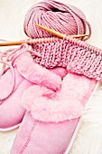Knitting things and pink house slippers