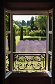 View from balcony out to provencal garden with abundant lavender and cypress trees