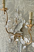 French 19th century gilt and crystal wall sconce