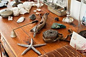Starfish, driftwood and other finds on chest of drawers made of untreated wood