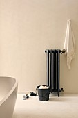 Free-standing bathtub and radiator in bathroom with beige wall