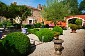 Topiary bushes and planters on gravel in Mediterranean garden of country house villa
