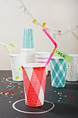 Party cups decorated with washi tape