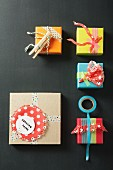 Small gift boxes decorated with washi tape