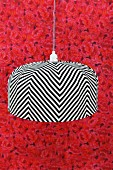 Hand-crafted pendant lamp with striped lampshade