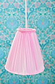 Hand-crafted pendant lamp with pink lampshade