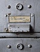 Label on sheet metal cabinet