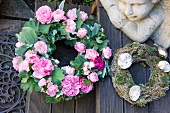 Wreath of roses and angel ornament
