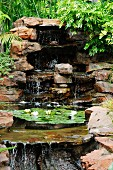 Cascades and flowering waterlilies in pond