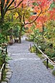 Garten eines zenbuddhistischen Tempels in den Hügeln von Arashiyama, nahe Kyoto