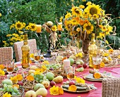 A table laid with bunches of sunflowers to celebrate Harvest Festival
