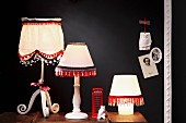 Lampshades decorated with ornamental trims