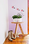Rustic flower table; three flying parrots on the wall