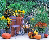Garden terrace decorated for autumn in shades and yellow and orange