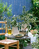 Black and green olives, rosemary olive oil and olive branches on garden table