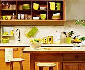 Kitchen with Green and Yellow Dishware and Decor