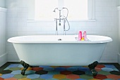 Claw Foot Bathtub on a Multi-Colored Floor