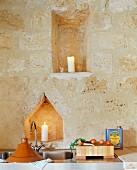 Sink & wall niches in Château Maignaut (Pyrenees, France)