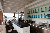 Open-plan bar with sea view