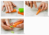 Carrots being made from modelling clay