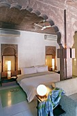 Elegant gust room with double bed in Raas Haveli Hotel, Jodhpur, India